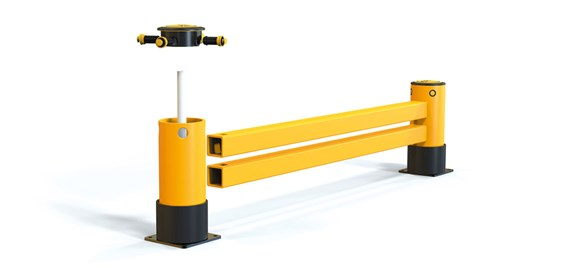reFlex Double Rail RackEnd flexible polymer safety Guardrail exploded view