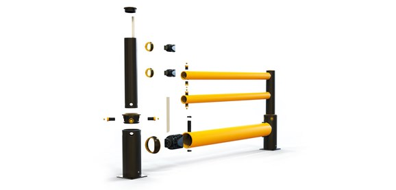 iFlex Single Traffic + 2 rail flexible polymer with pedestrian safety Guardrail exploded view