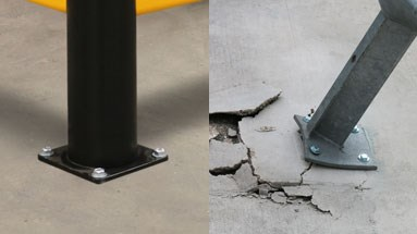 Floor damage with steel bollards and posts