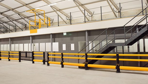 Polymer safety guardrails for protection of buildings