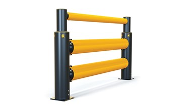iFlex Double Traffic+ flexible polymer with pedestrian safety Guardrail side view