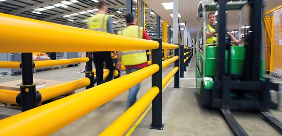 iFlex Pedestrian 3 Rail safety Guardrail (Circular Rails) in factory