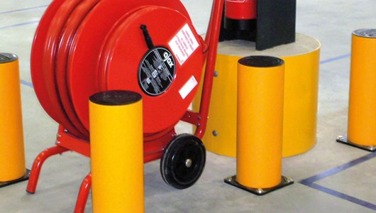 industrial bollard safety Guardrail protection in warehouse