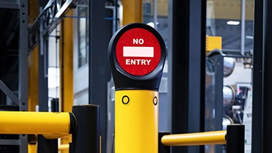 Access control safety signs