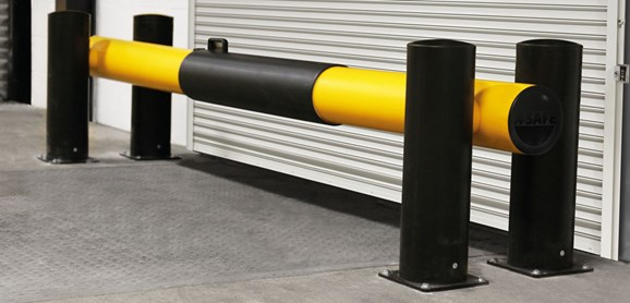 eFlex Dock Gate designed to defend dock loading bays, industrial door protection in loading bay