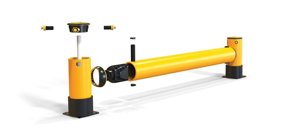 iFlex Rackend single flexible polymer safety Guardrail Yellow Post exploded view