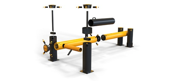 iFlex Dock Gate designed to defend dock loading bays, industrial door protection exploded view