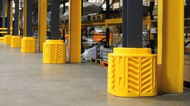 Plastic column guards providing protection in a warehouse