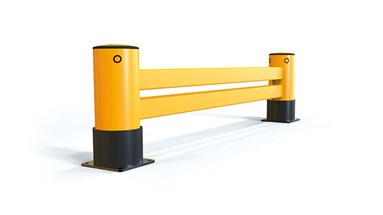 reFlex Double Rail RackEnd flexible polymer safety Guardrail side view