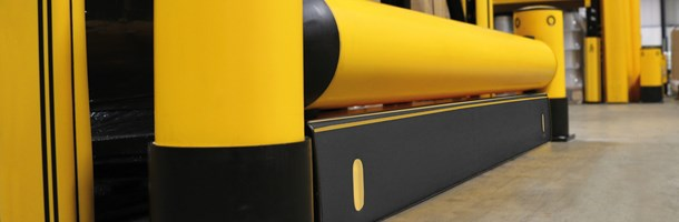 RackEnd single flexible polymer safety Guardrail with iFlex Fork Guard in warehouse