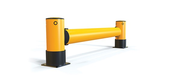 iFlex Rackend single flexible polymer safety Guardrail Yellow Post side view