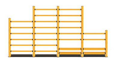 Customisable topple guardrail protection