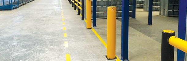 Polymer impact protection safety bollard in warehouse