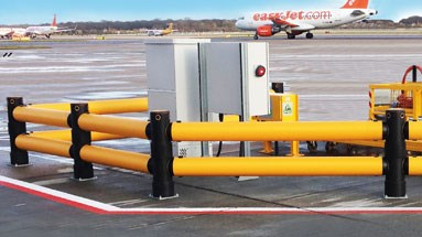 Traffic safety guardrail outdoors at airport