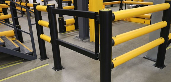 pedestrian crossing protection swing gate in factory