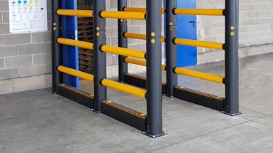 Forkguard kerb safety guardrails outdoors