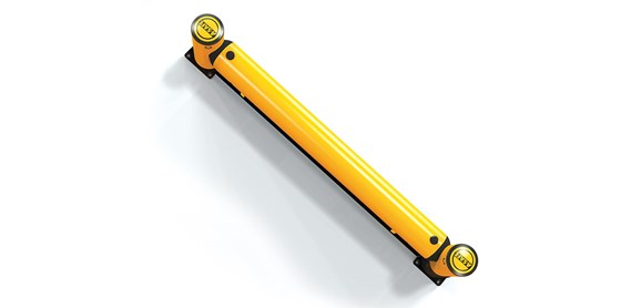 rackend flexible polymer safety guardrail with fork guard ground level protection top view