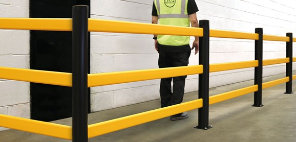 pedestrian 3 rail safety protection Guardrail in warehouse