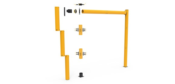 high level height restrictor for industrial doorway protection exploded view