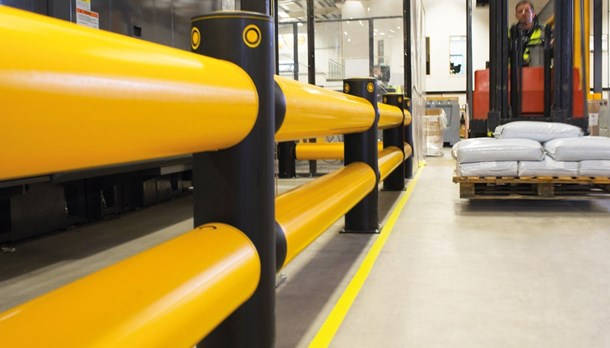 Traffic safety guardrails in warehouse