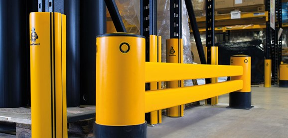 Double Rail RackEnd flexible polymer safety Guardrail in warehouse