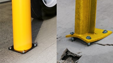 Plastic flexible bollard protection in service yards that do not damage the floor