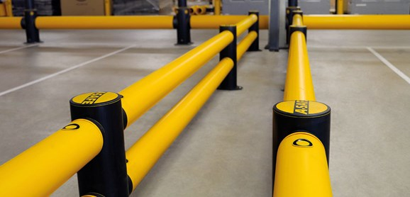 Double Traffic flexible polymer safety Guardrail at warehouse