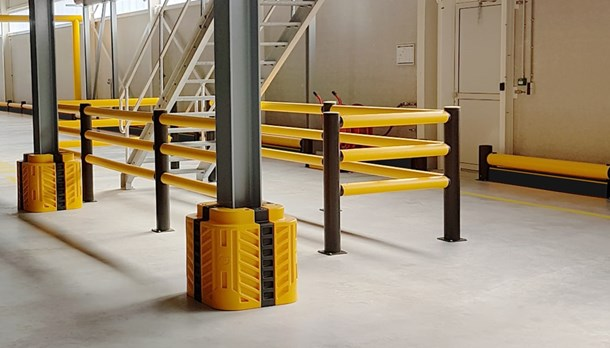 Industrial building, wall and column protection