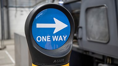 One way out safety sign