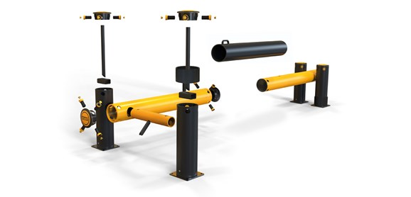 iFlex Dock Gate XL designed to defend dock loading bays, industrial door protection exploded view