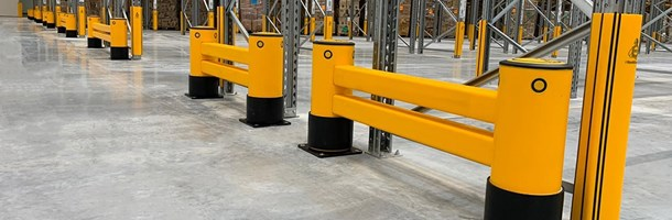 Rackend guardrail protecting racking in warehouse