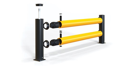 reFlex Double Traffic flexible polymer safety Guardrail exploded view