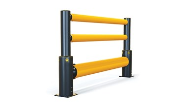 iFlex Single Traffic + 2 rail flexible polymer with pedestrian safety Guardrail side view