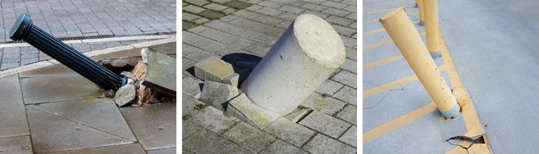 Concrete And Steel Bollards Replacing After Damage