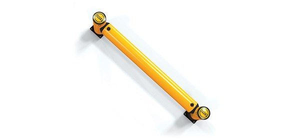 iFlex Rackend single flexible polymer safety Guardrail Yellow Post top view