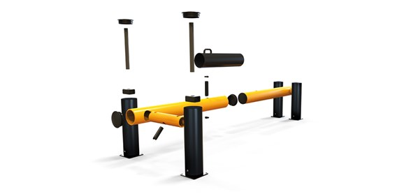 eFlex Dock Gate designed to defend dock loading bays, industrial door protection exploded view