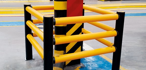 Column Guard pedestrian protection barrier in warehouse