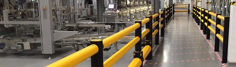 Safety barriers in a busy factory