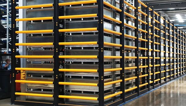 Topple barriers warehouse protection