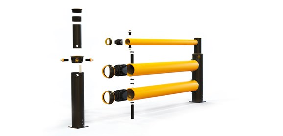 iFlex Double Traffic+ flexible polymer with pedestrian safety Guardrail exploded view