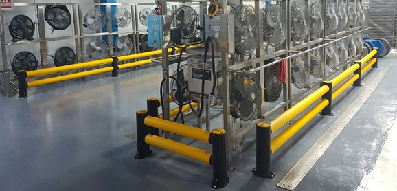 Double Traffic flexible polymer safety guardrail in factory
