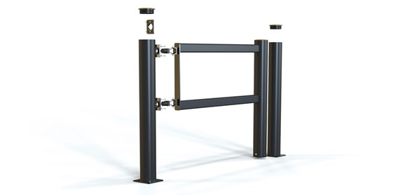 long pedestrian crossing protection swing gate exploded view