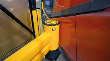 Rackend safety guardrail flex and recover on impact