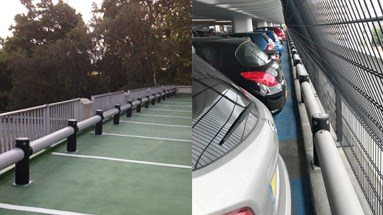 Polymer car park guardrail outside and inside