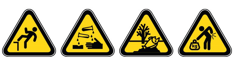 A range of warning signs displaying the types of workplace hazards