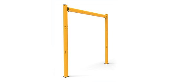 high level height restrictor for industrial doorway protection side view