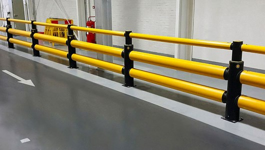 iFlex Double Traffic+ flexible polymer with pedestrian safety Guardrail at Nestle