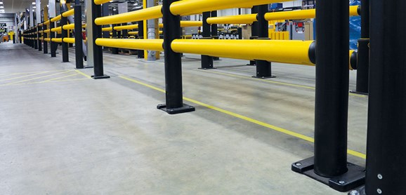 safety barrier slider plates pedestrian traffic management in factory
