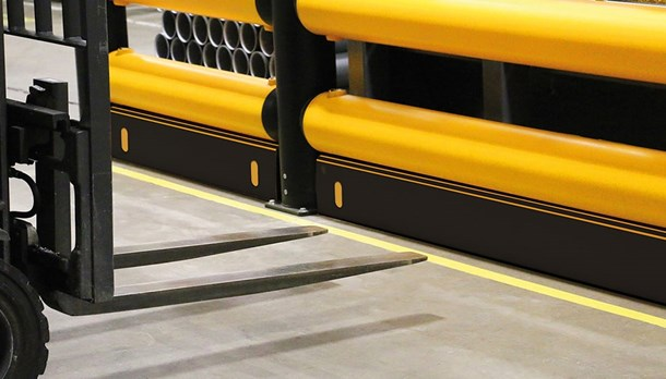 Industrial forkguard kerb guardrail with forklift impact