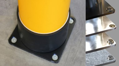 Base plates for industrial safety guardrails
